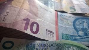 Euro- und Zloty-Geldscheine