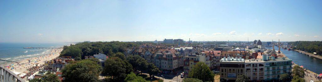 Zu sehen ist das Kolberger Stadtpanorama vom Leuchtturm, Bild: Kingaarog