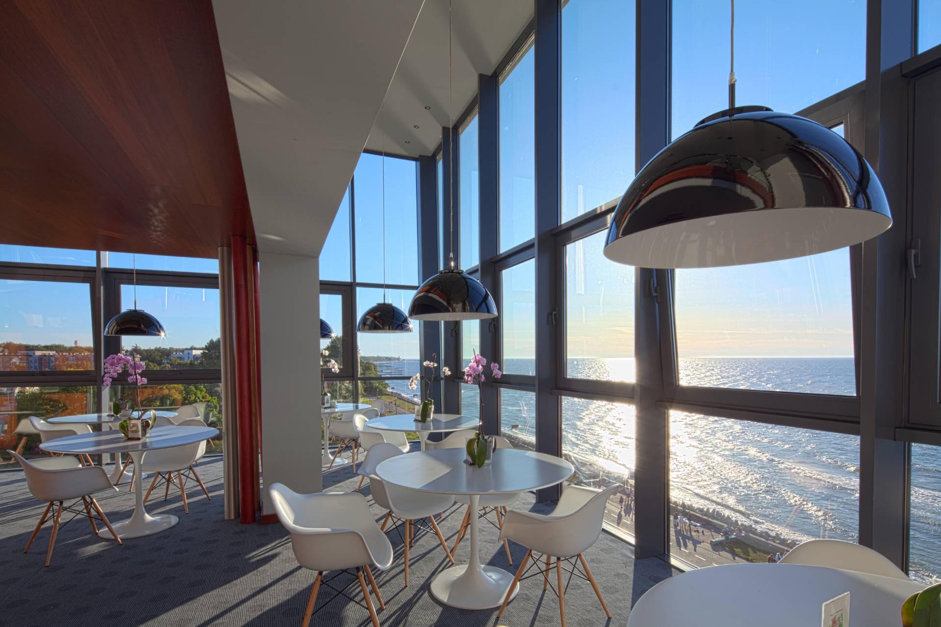 Zu sehen ist ein Seeblick aus dem Hotel Marine in Kolberg, Bild: Hotel Marine