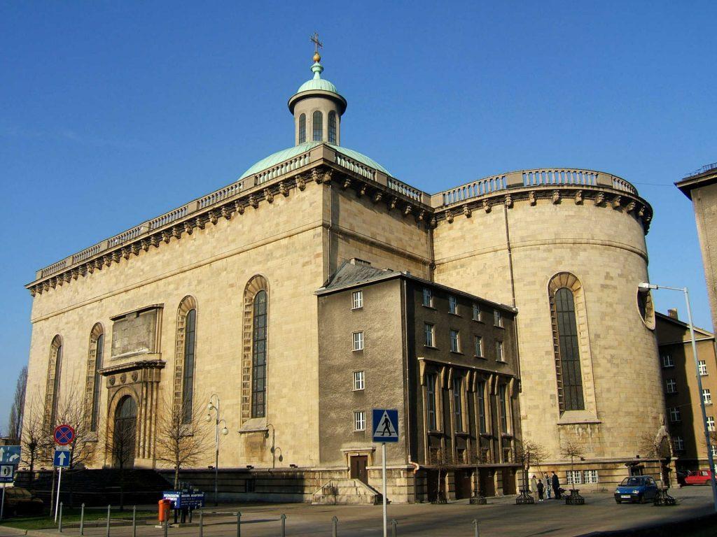 Zu sehen ist die Rückseite der Kathedrale in Kattowitz, Bild: Petrus Silesius