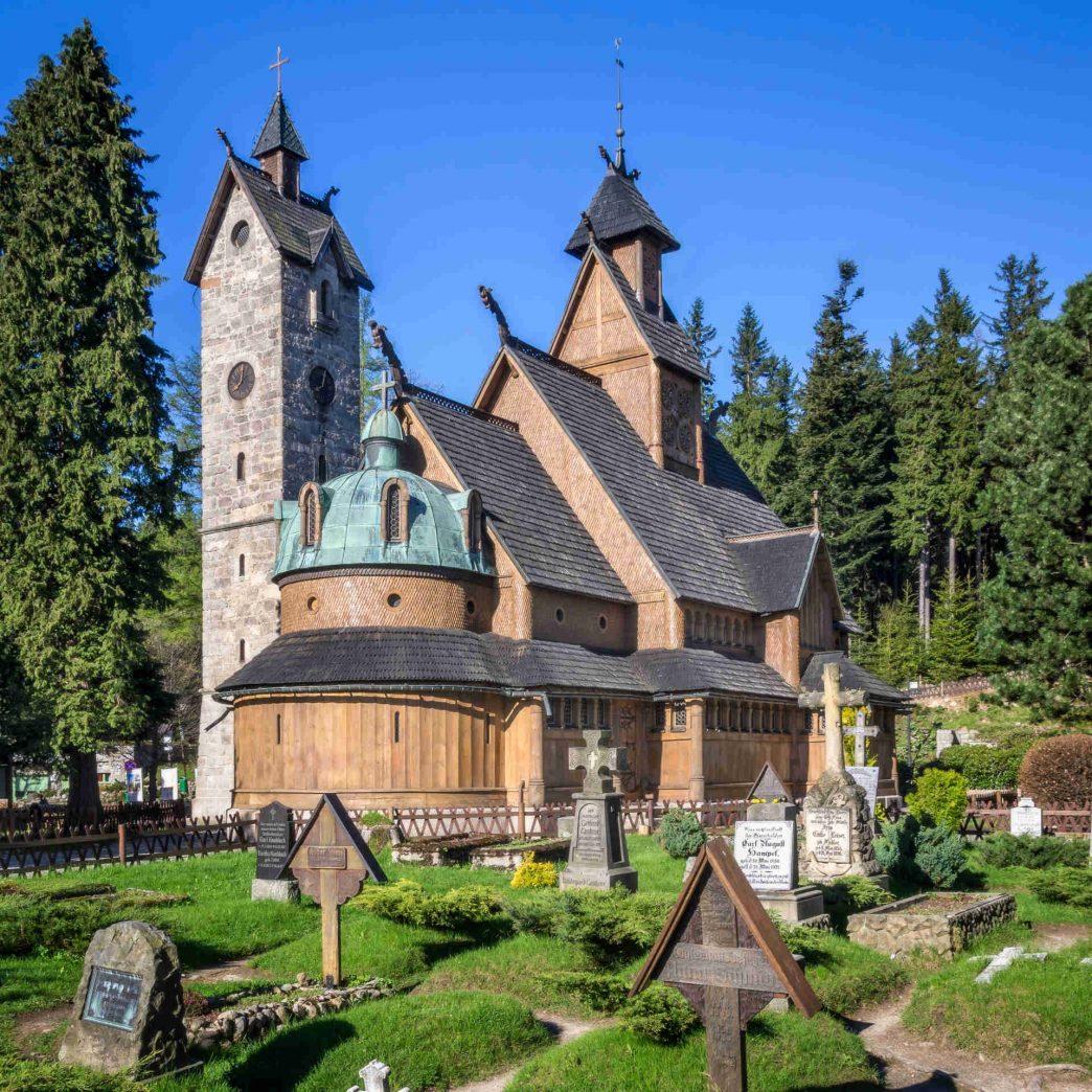 Zu sehen ist die Stabkirche Wang in Krummhübel, Bild: Jar.ciurus