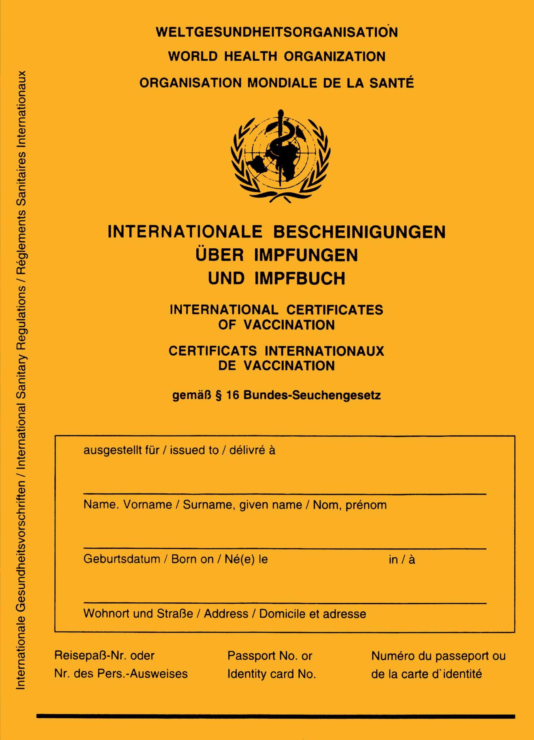 Zu sehen ist der Internationale Impfausweis; Bild: Lämpel